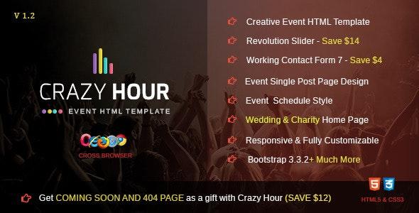 Crazy Hour - Event Management HTML Template - Events Entertainment