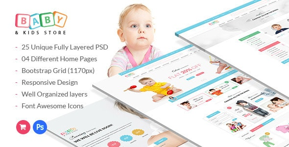 Baby & Kids Store eCommerce PSD Template - Shopping Retail