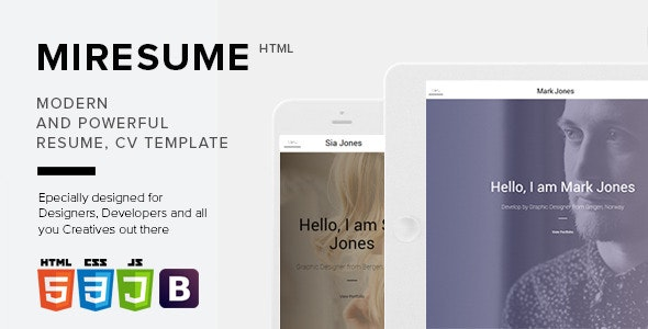 Miresume - Resume, CV, Portfolio Template - Personal Site Templates