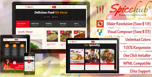SpiceHub - Restaurant / Bar  WordPress Theme