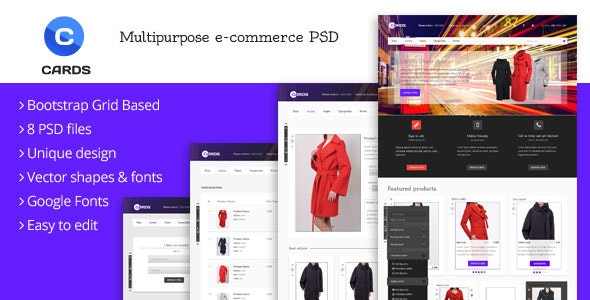 Cards - Multipurpose e-commerce PSD template - Retail Photoshop