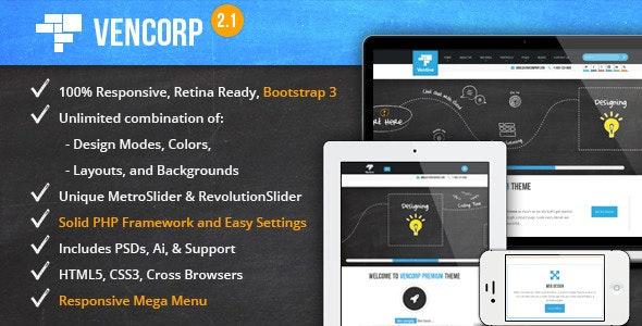 Elegant Responsive HTML5 w/ Animated Metro Slider - Business Corporate