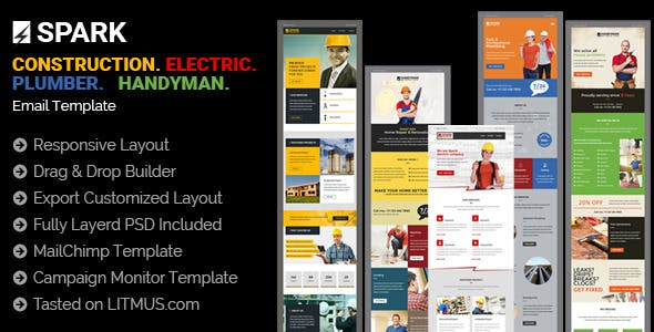 Spark - Service Provider (Architect, Electrician, Plumber, Handyman) Email Templates