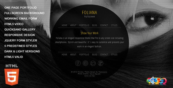 Foliana - One Page Responsive Portfolio - Creative Site Templates