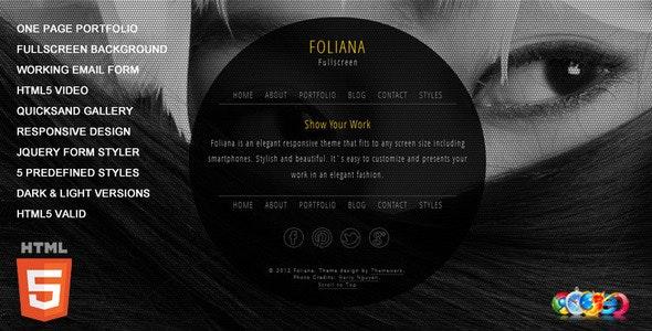 Foliana - One Page Responsive Portfolio by Themewerk | ThemeForest