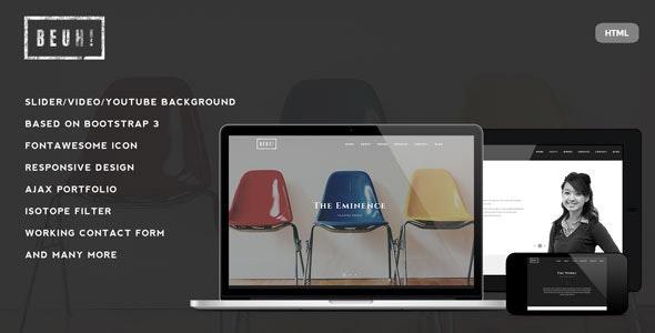 Beuh - Responsive One Page Portfolio HTML Template - Portfolio Creative