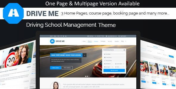 Driveme - Driving Class | School HTML Template With RTL
