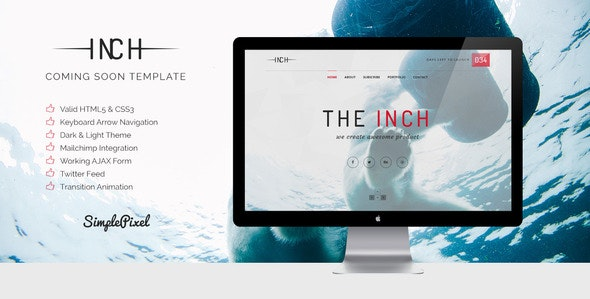 Inch - Creative Coming Soon Template - Under Construction Specialty Pages