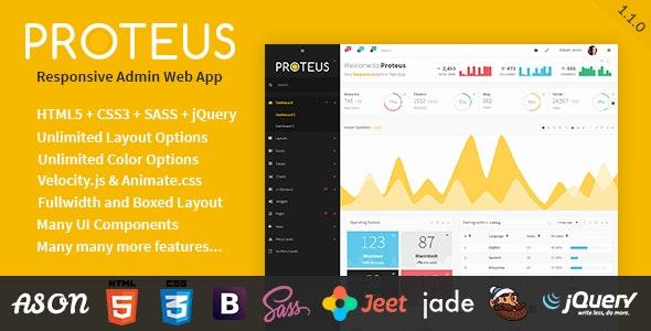 Proteus - Responsive Admin Web App - Admin Templates Site Templates