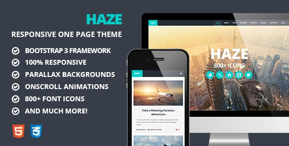 Haze - One Page Responsive Parallax Theme - Creative Site Templates