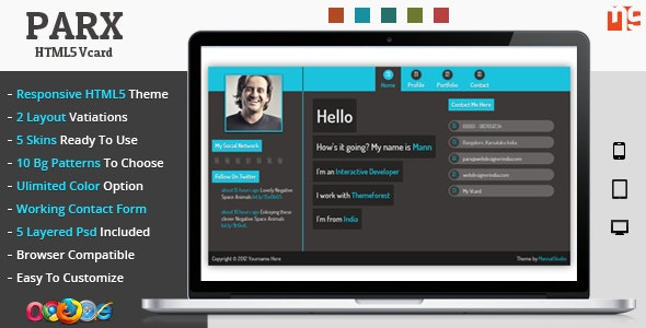 Parx - Responsive Vcard Template - Virtual Business Card Personal