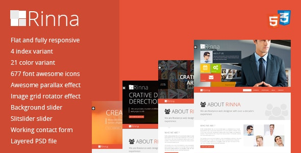 Rinna Flat and Responsive Onepage Template - Portfolio Creative