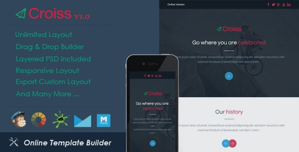 Croiss - Responsive Email + Drag & Drop Builder - Email Templates Marketing