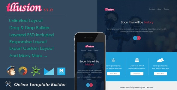 Illusion - Responsive Email + Drag & Drop Builder - Email Templates Marketing