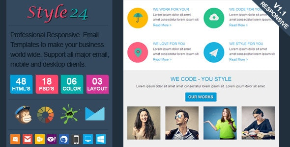 Style24 - Clean & Cool Responsive Email Template - Email Templates Marketing