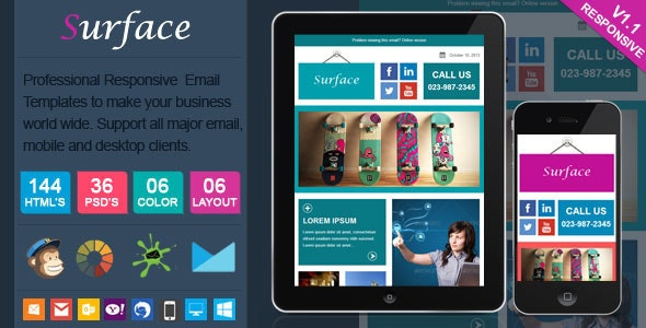Surface - Colorful Responsive Email Template - Newsletters Email Templates