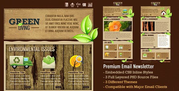 Green Environment HTML Email Template (3 Themes)