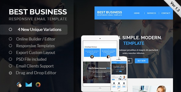Best Business Responsive Email + Builder Access - Email Templates Marketing