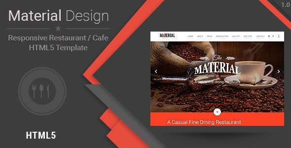 Material-Responsive Restaurant/Cafe HTML Template
