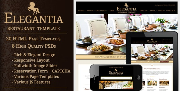 Elegantia - Restaurant and Cafe HTML Template - Restaurants & Cafes Entertainment