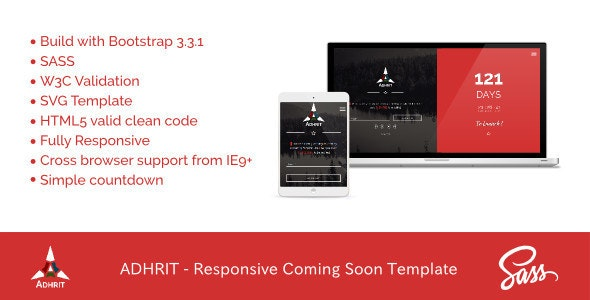 ADHRIT - Responsive Coming Soon Template - Under Construction Specialty Pages