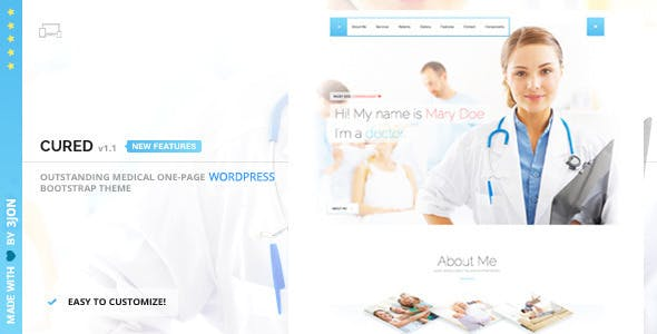 Cured - One Page Medical Doctor WordPress Theme