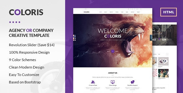 Coloris - Premium Portfolio HTML Template - Creative Site Templates