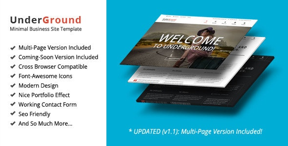 UnderGround v1.0 – Minimal Onepage & Multipage Template