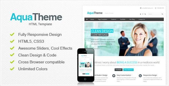 Aqua - Responsive HTML Template - Corporate Site Templates