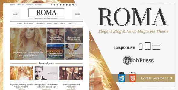 ROMA - Elegant Blog & News Magazine Theme - News / Editorial Blog / Magazine
