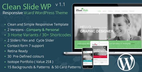 Clean Slide Responsive vCard Wordpress Theme - Portfolio Creative