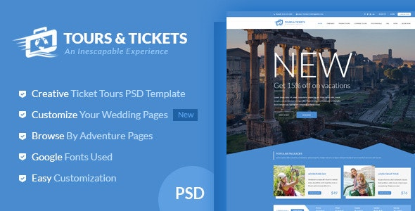 Tours & Tickets - Creative PSD Template - Travel Retail