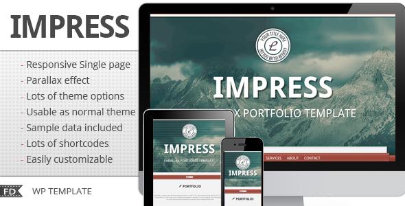 Impress - Responsive parallax single page theme - Portfolio Creative