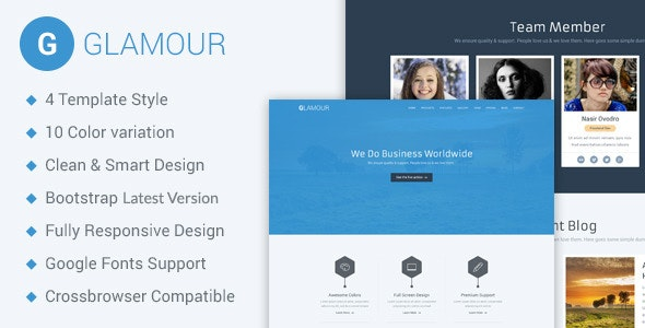 Glamour - Corporate One Page HTML5 Template - Business Corporate