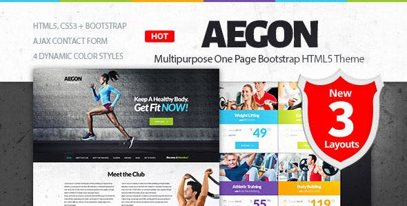 Aegon - Responsive Gym/Fitness Club Template