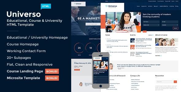 Universo - Courses, Events, Education & University - Corporate Site Templates