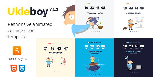 UkieBoy - Responsive Animated Coming Soon Template - Under Construction Specialty Pages