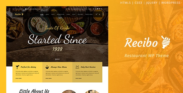 Recibo - Restaurant WordPress - Food Retail