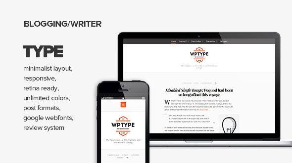Type - Clean & Minimalist Blogging Theme - Personal Blog / Magazine