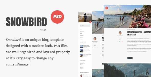 Snowbird Personal Blog PSD Template - Personal Photoshop