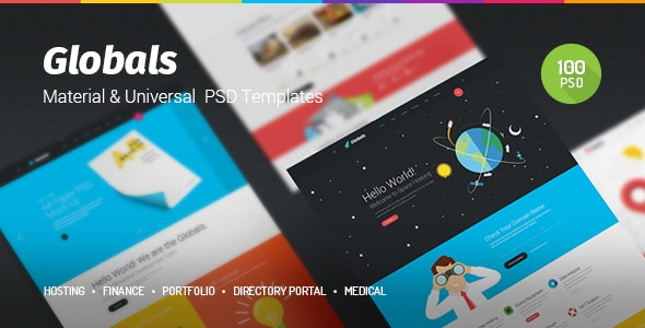 Globals - Material & Universal PSD Template - Creative Photoshop