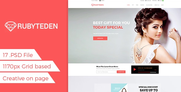 RubyTeden Shop - eCommerce Shopping PSD Template - Fashion Retail