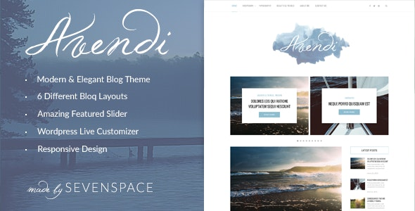 Avendi – Responsive WordPress Blog Theme - Personal Blog / Magazine
