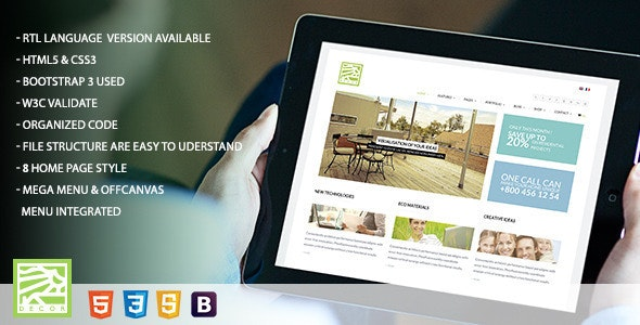 Decor - HTML5 Versatile Template  - Corporate Site Templates
