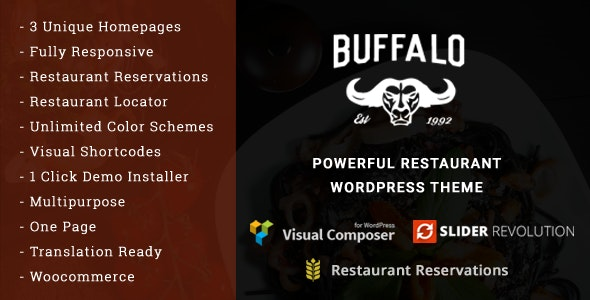 Buffalo - Cafe & Restaurant WordPress Theme - Restaurants & Cafes Entertainment