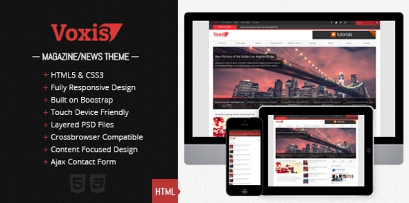 Voxis - Responsive Magazine / News HTML template - Creative Site Templates