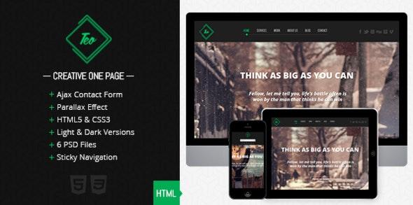 Teo - Responsive Parallax Single Page Portfolio - Portfolio Creative