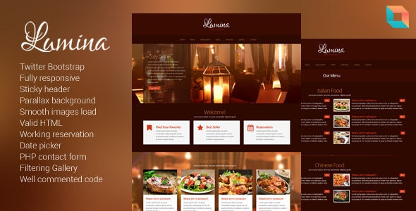 Lumina - Responsive Restaurant Website Template - Restaurants & Cafes Entertainment