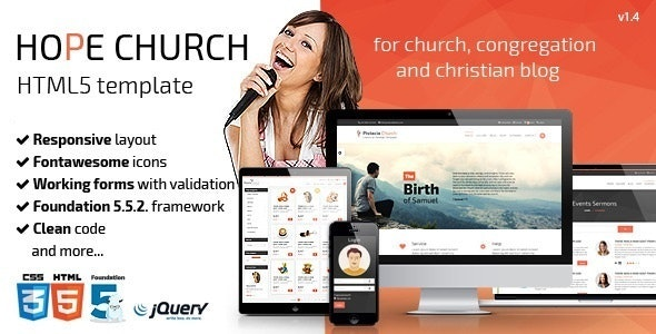 Hope - Church Responsive HTML5 MuraCMS theme - Mura CMS Themes