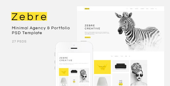 Zebre - Minimal Agency & Portfolio PSD Template - Portfolio Creative